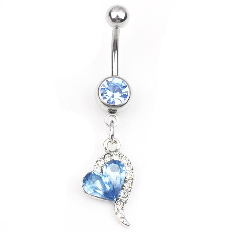 1pc Rhinestone Crystal Heart Barbells Navel Belly Bar Button Ring Body Pier X4D1