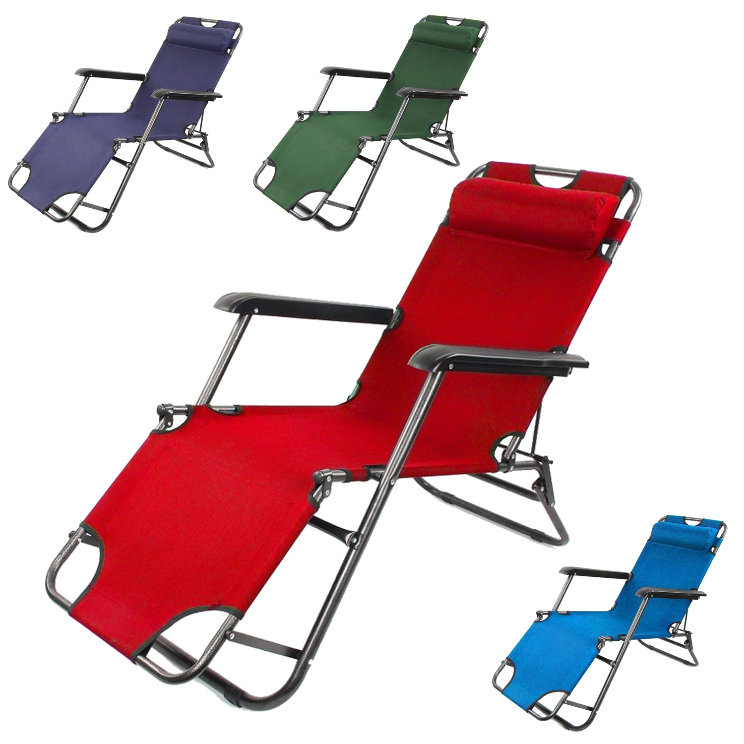 Lightweight Folding Beach Lounge Chair 2x Folding Reclining Garden Chair Sun Lounger Deck Camping