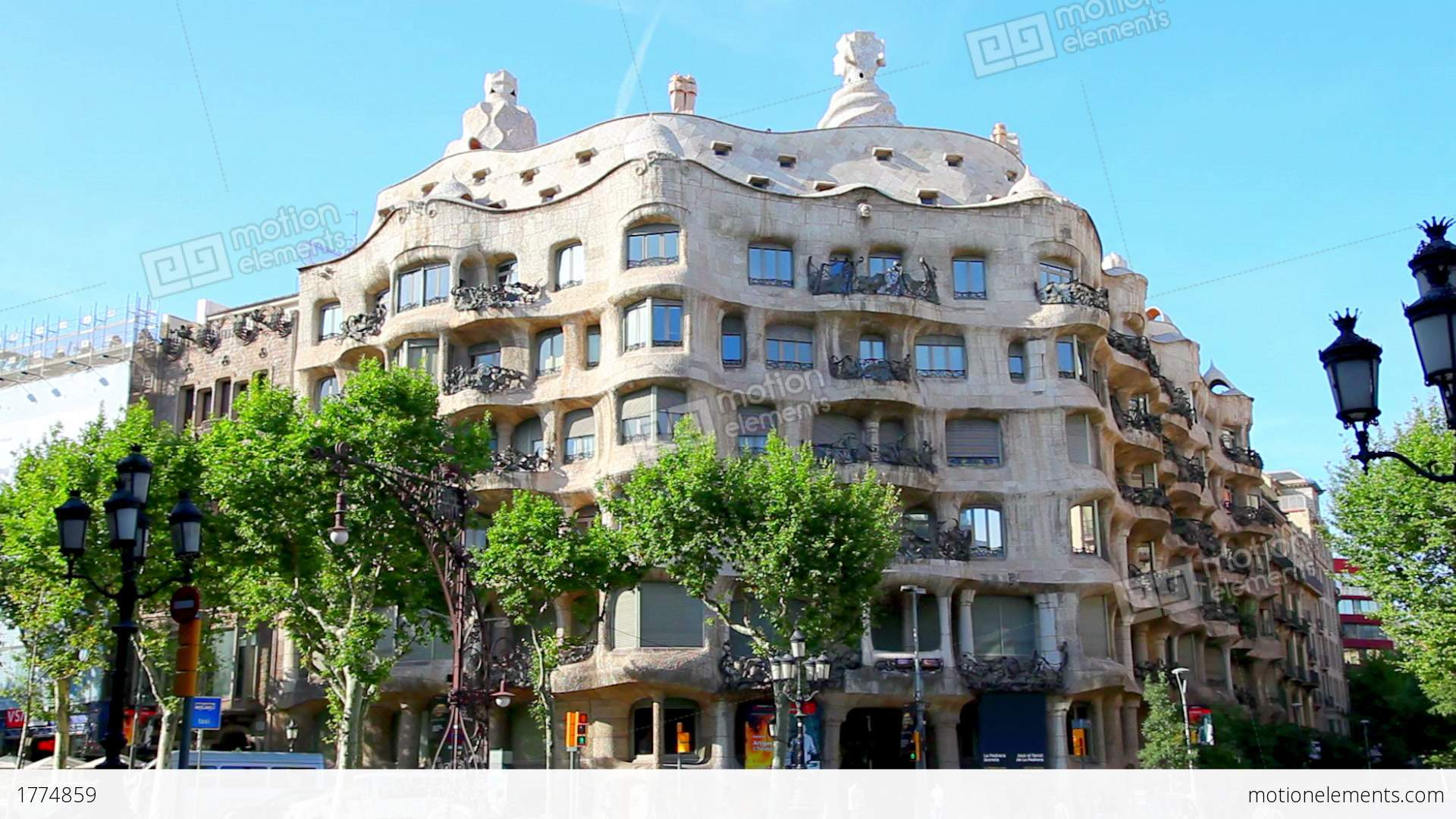 Casa Mila La Pedrera In Barcelona Spain Stock video footage  1774859