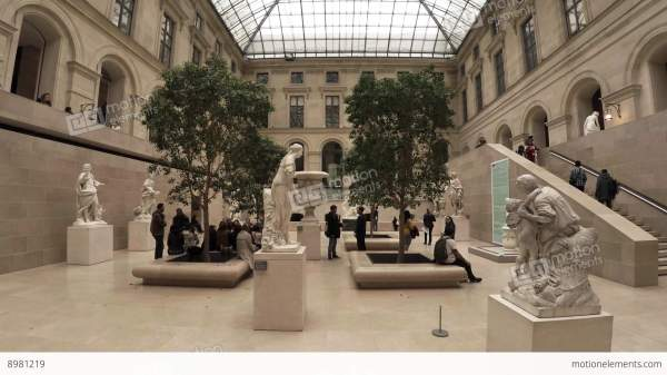 Statues And Sculptures In Louvre Museum Paris