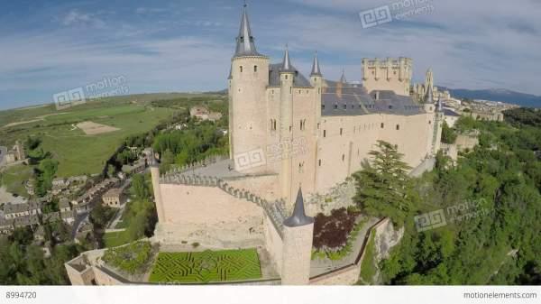 Aerial Footage Spanish Castle Alcazar Of Segovia In