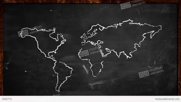 World Chalk Sketch Blackboard Looping Animation Stock
