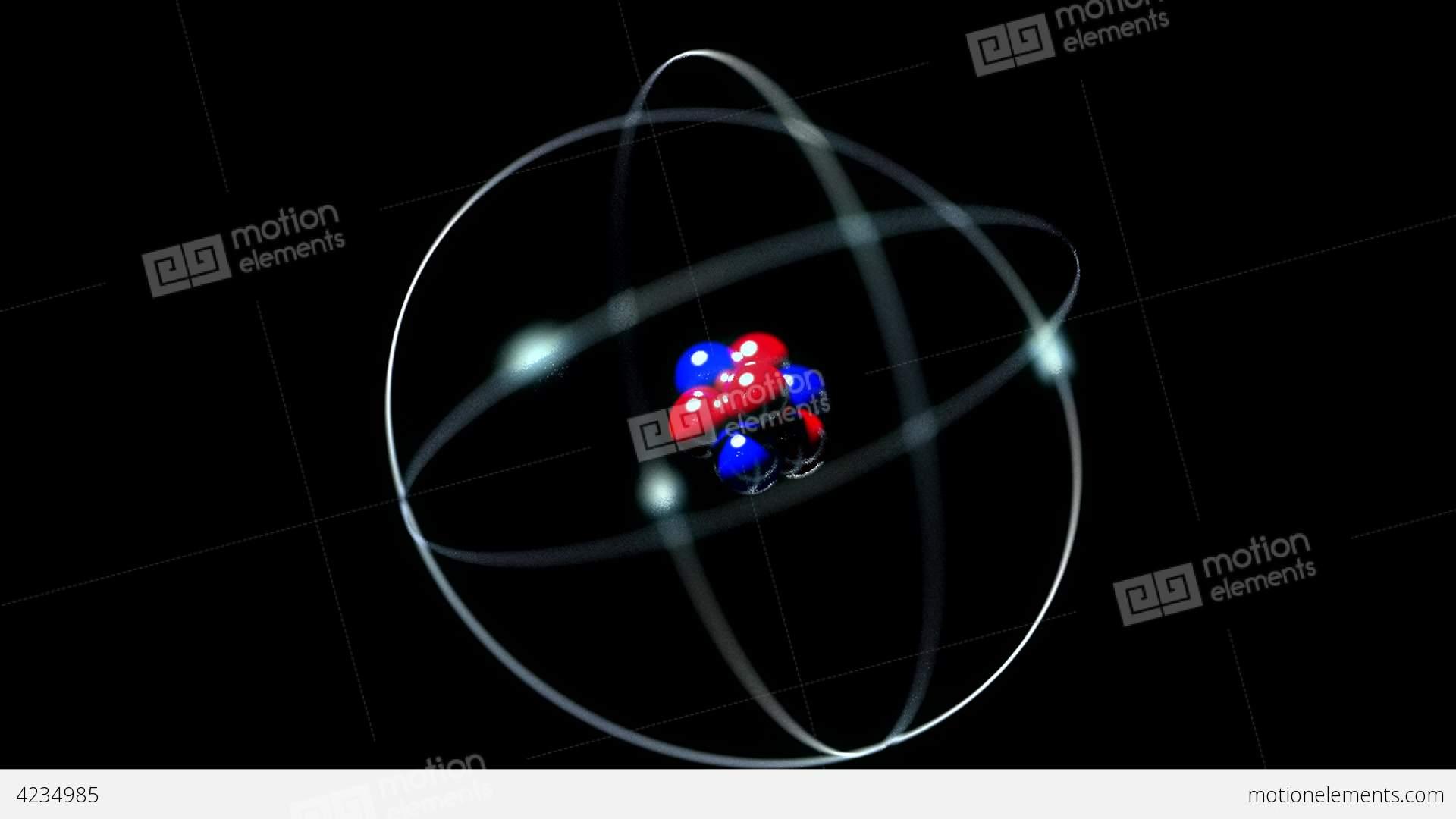 Atom Single Nucleus Proton Neutron Electron Loop Stock