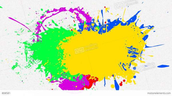 Multi Paint Splash With Alpha Stock Animation 808581