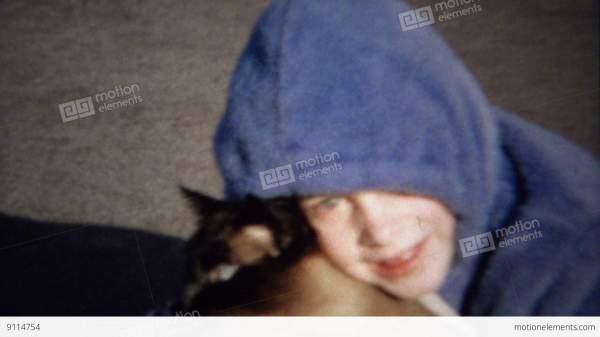 1963 Purple Hoodie Girl Hugs Cat Kisses Loves Pet