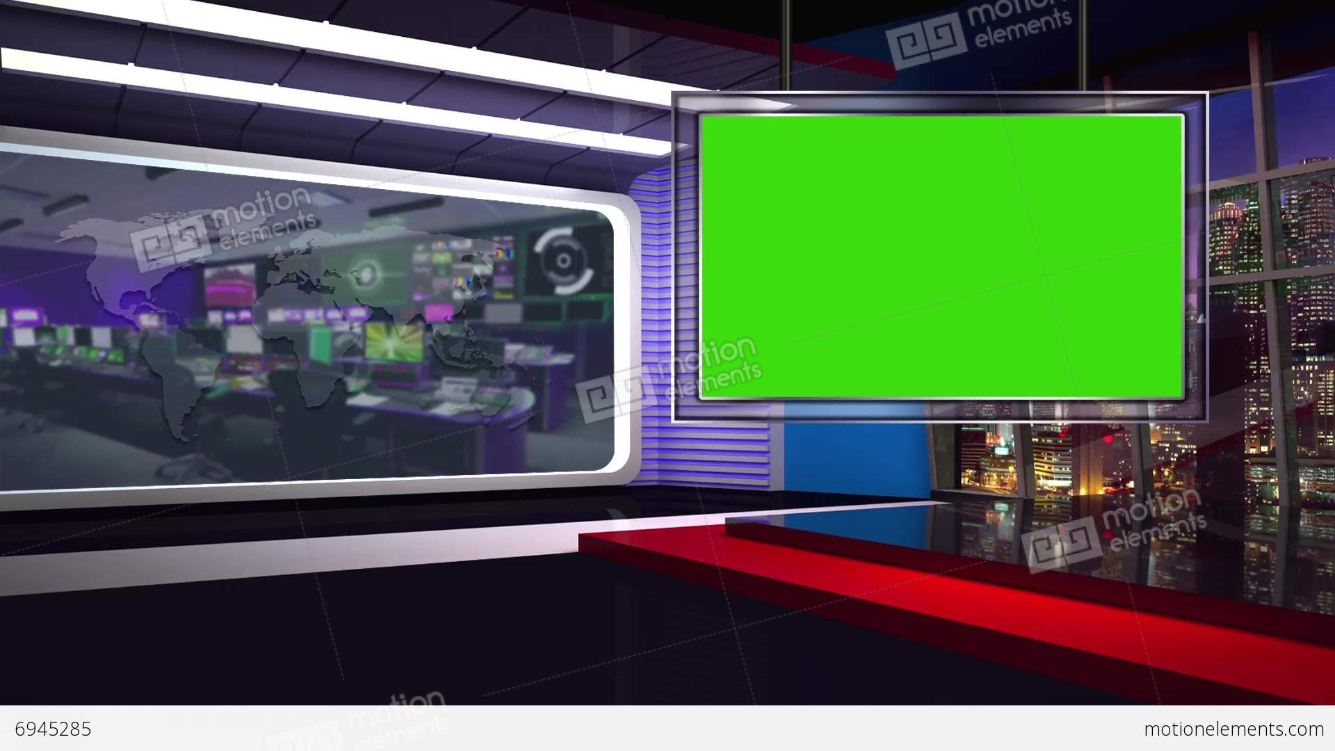 News TV Studio Set 62 Virtual Green Screen Background Loop