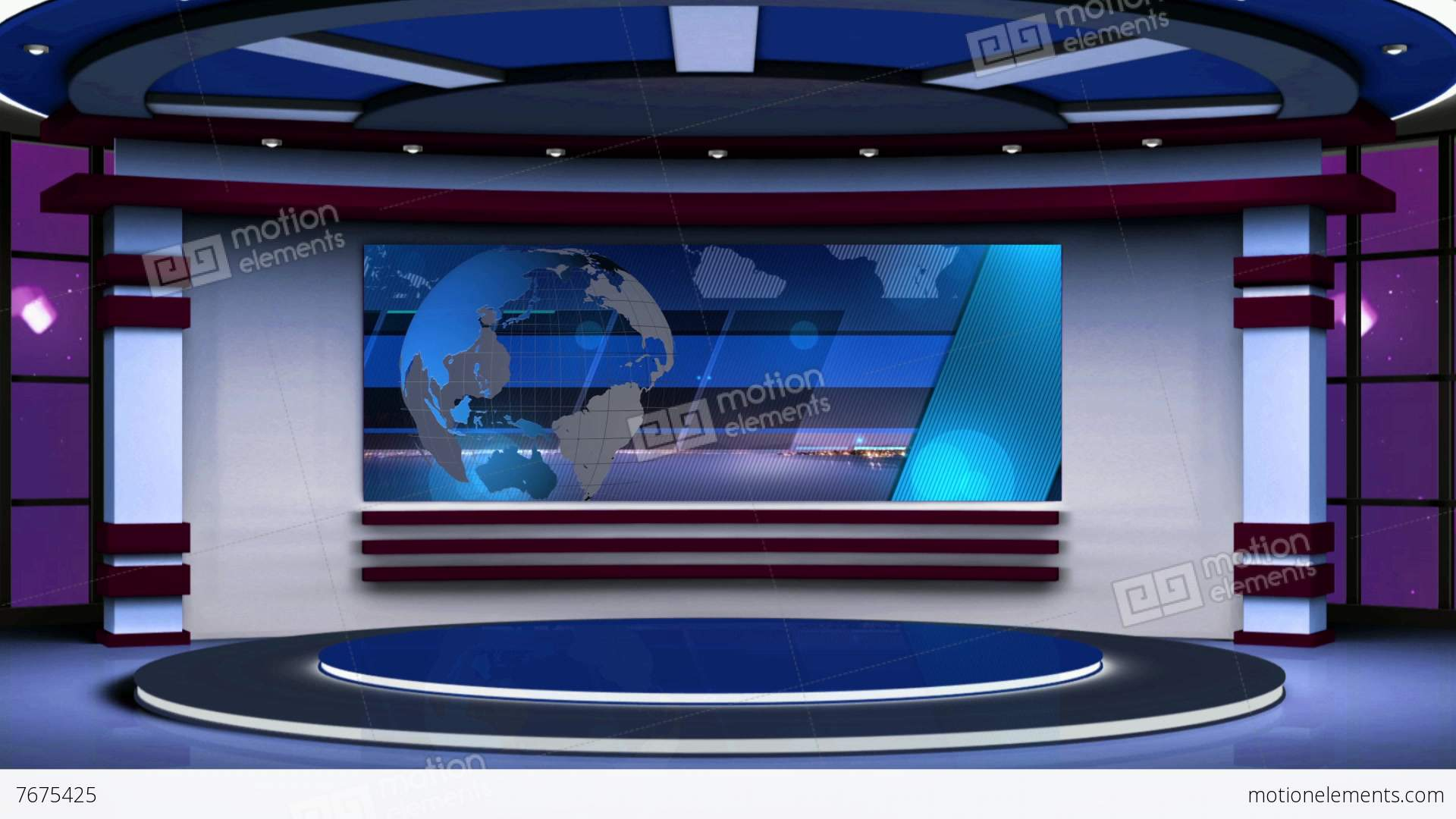News TV Studio Set 63  Virtual Background Loop Stock video footage  7675425