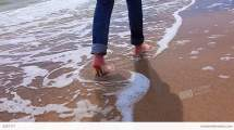 Jeans Barefoot On Beach