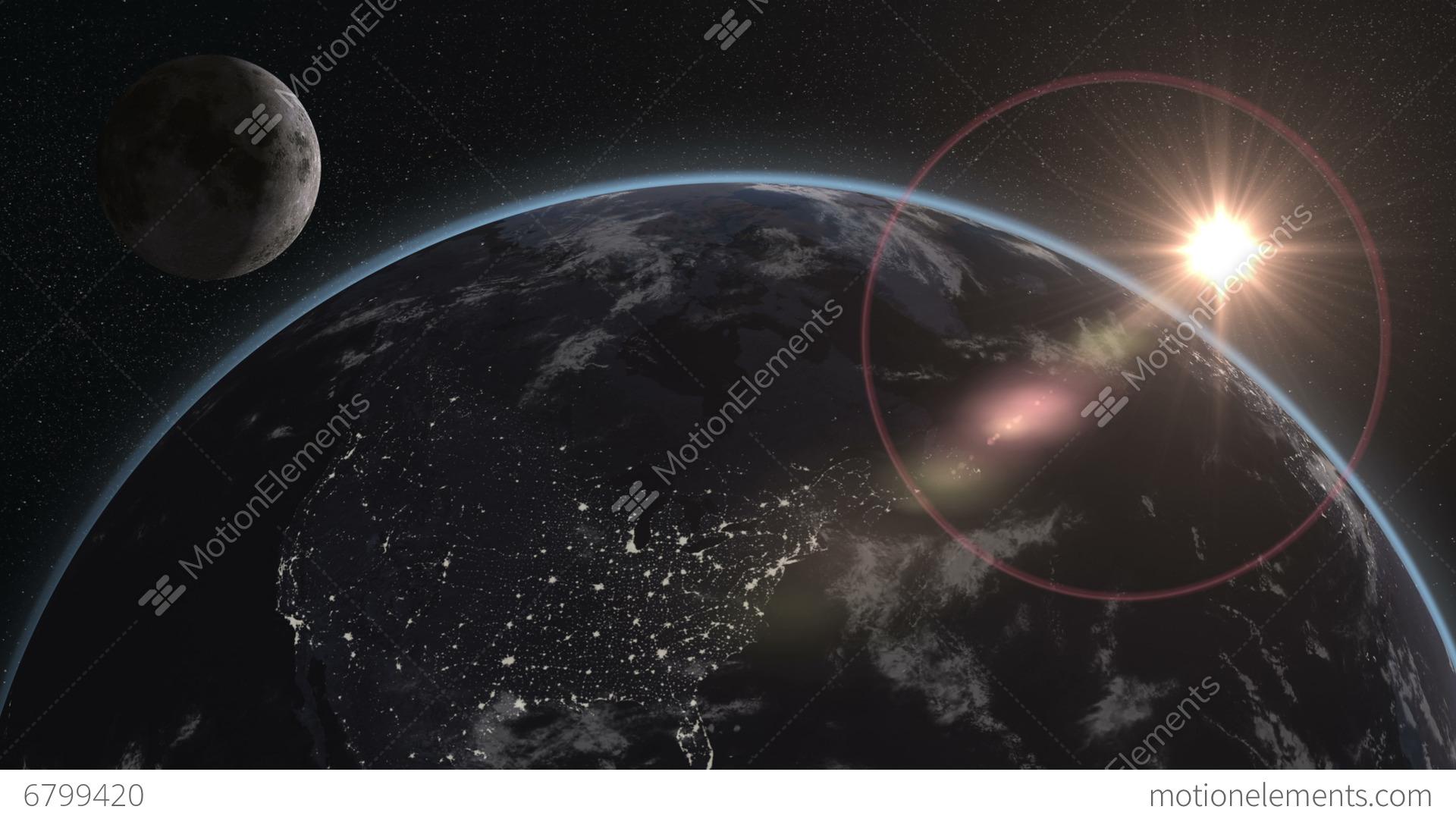 4k Uhd Earth Moon Night
