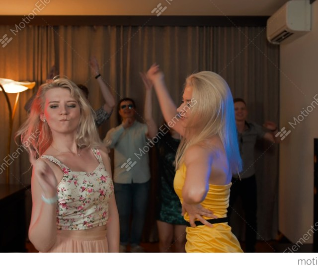 Two Attractive Sexy Girls Dancing At Party With Her Stock Video Footage
