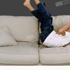 Motion Sofa Definition Cover For Armless Young Boy Jumping On The Grey Background Stock