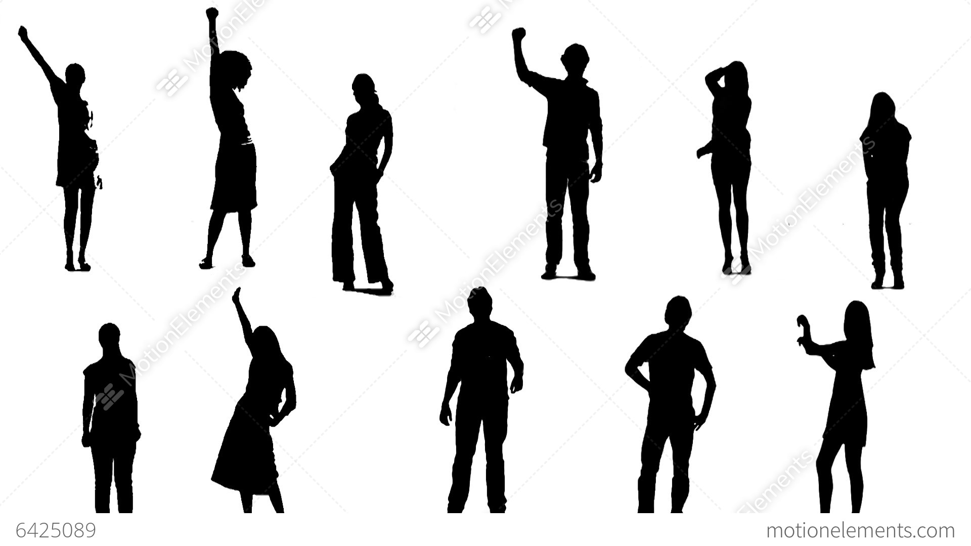 Silhouettes Of Young People Who Raise One Arm Up 1 Stock