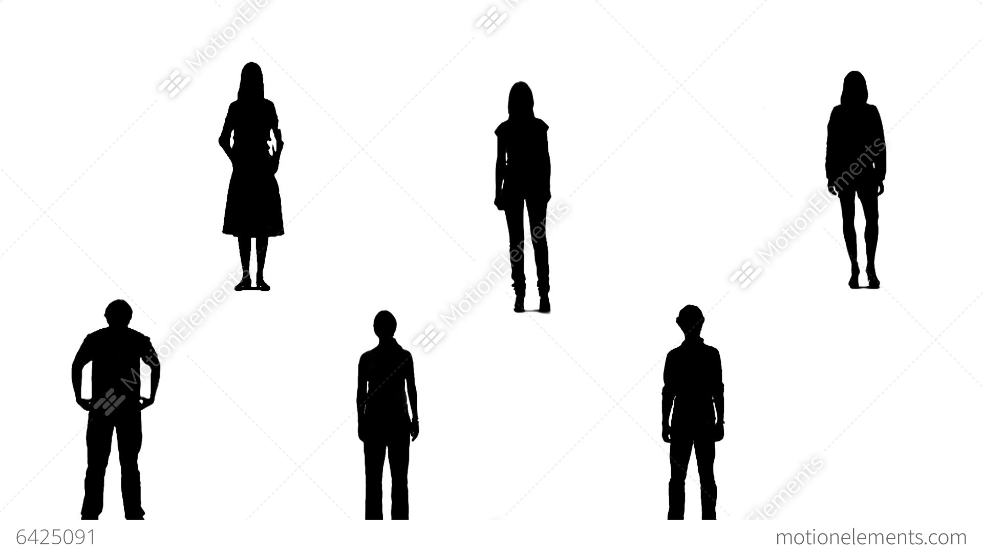 Silhouettes Of Young People Who Raise Arms Up 1 Stock
