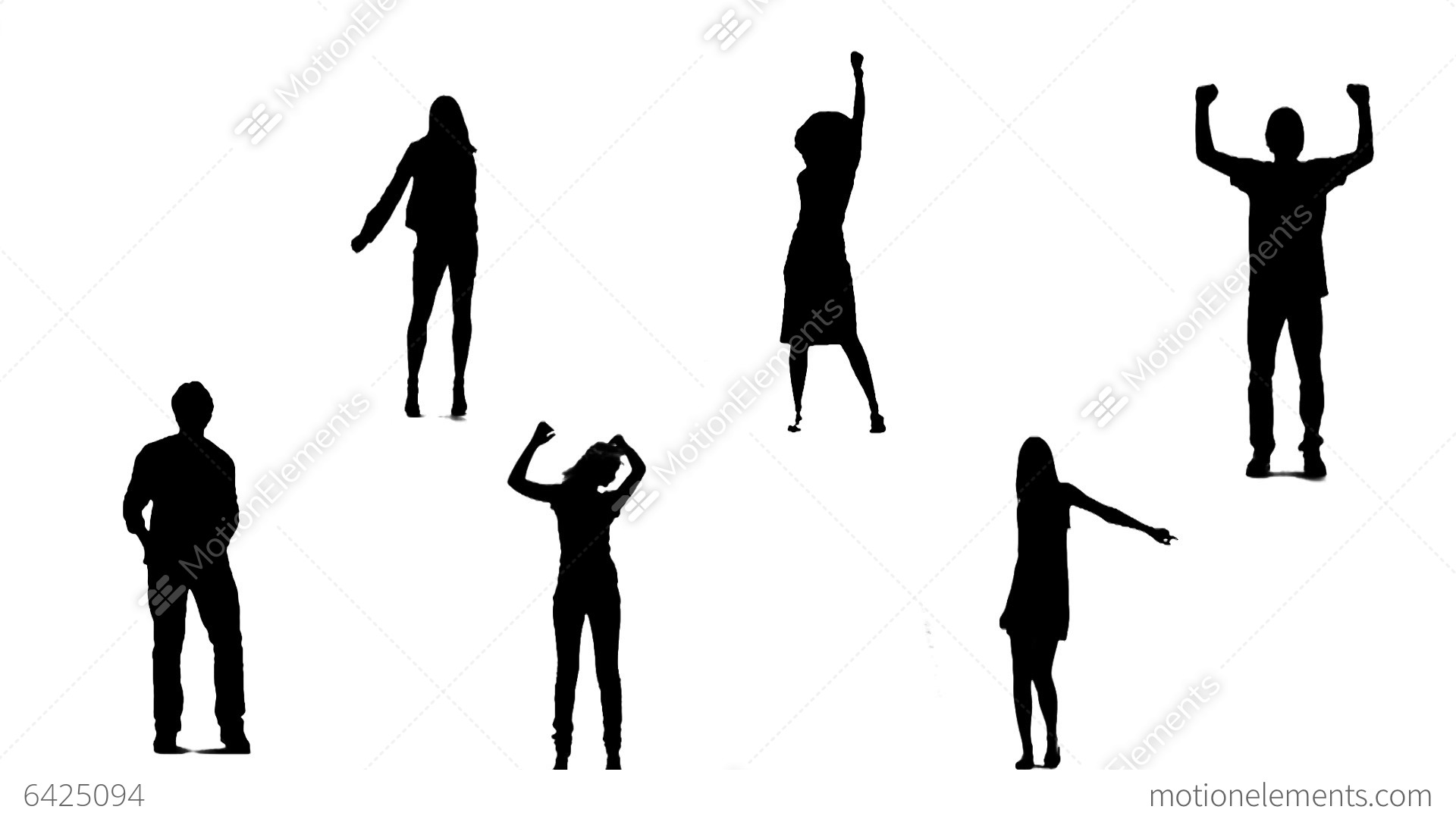 Silhouettes Of Young People Who Dance 1 Stock Animation