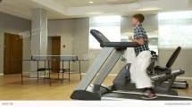 Boy Running On Treadmill