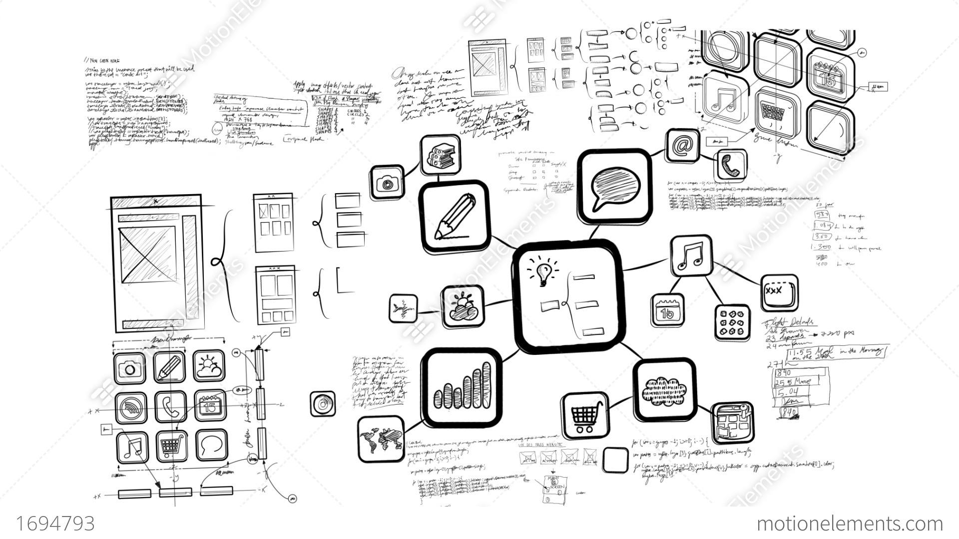 Mobile App Development Whiteboard Scribblings Stock