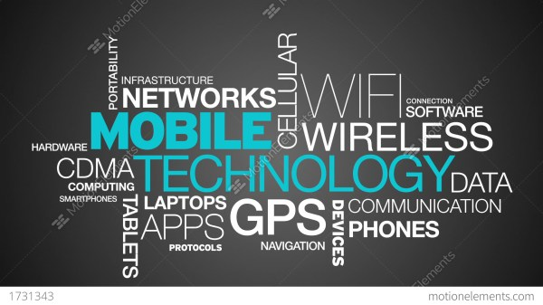 Mobile Technology Word Cloud Animation Stock