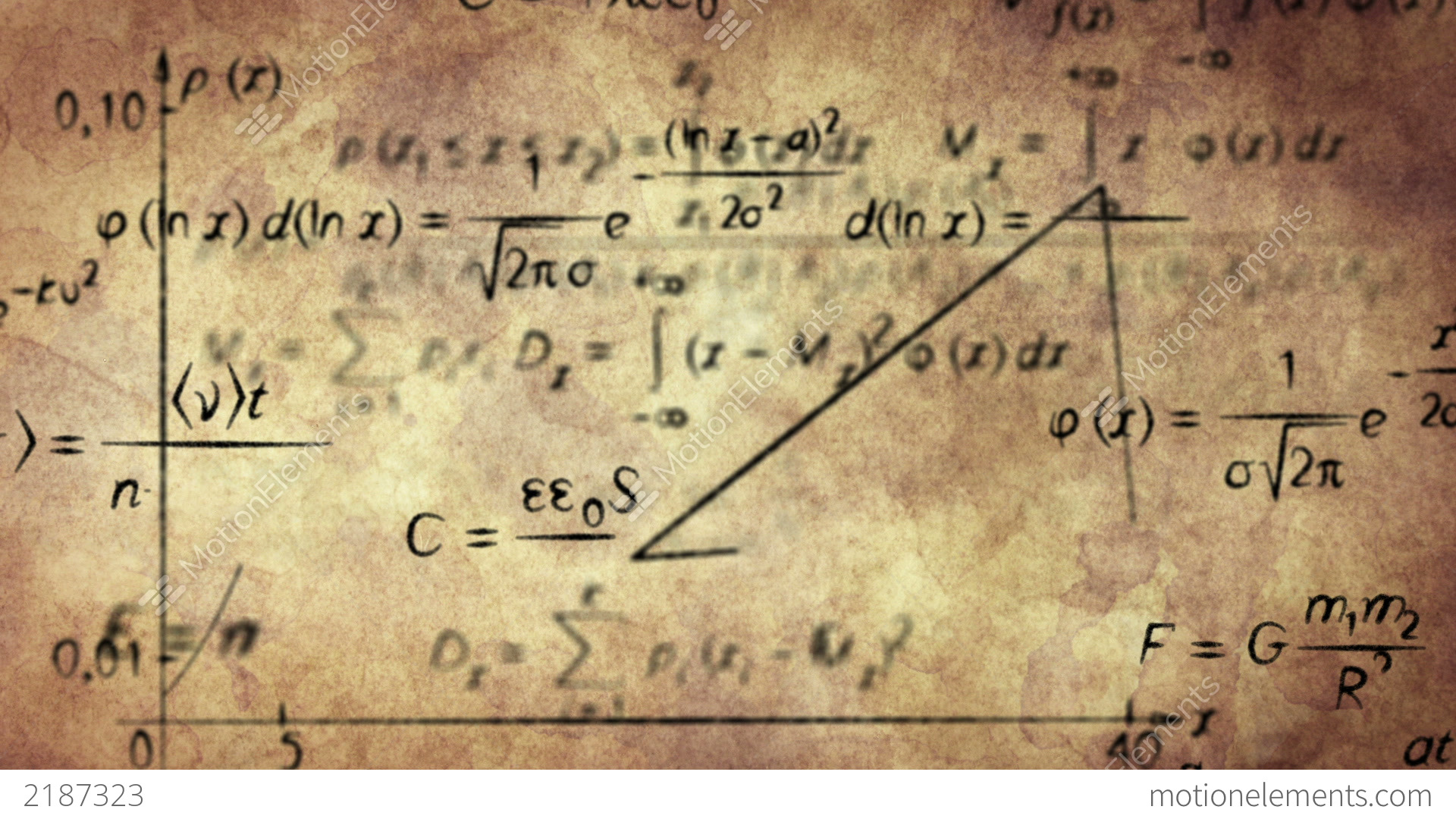 Math Physics Formulas On Old Paper Loopable Stock