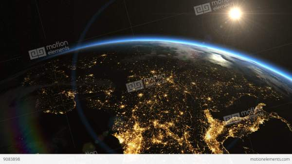 Europe Space. Sunrise. Earth Space Stock Animation 9083898