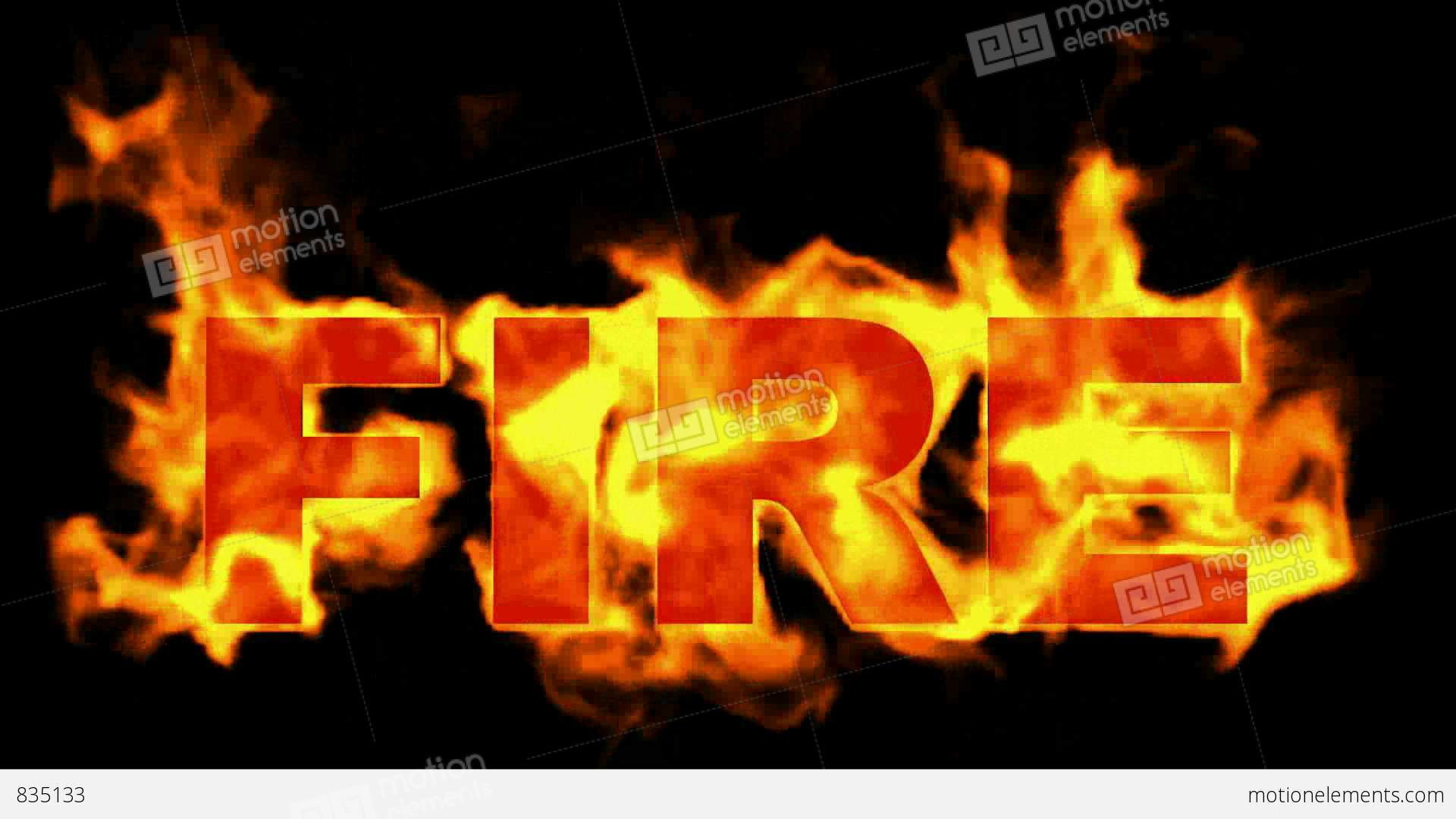 Burning Fire Word Stock Animation  835133