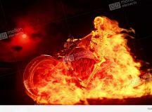Skeleton Biker On Fire Stock Animation | 737040