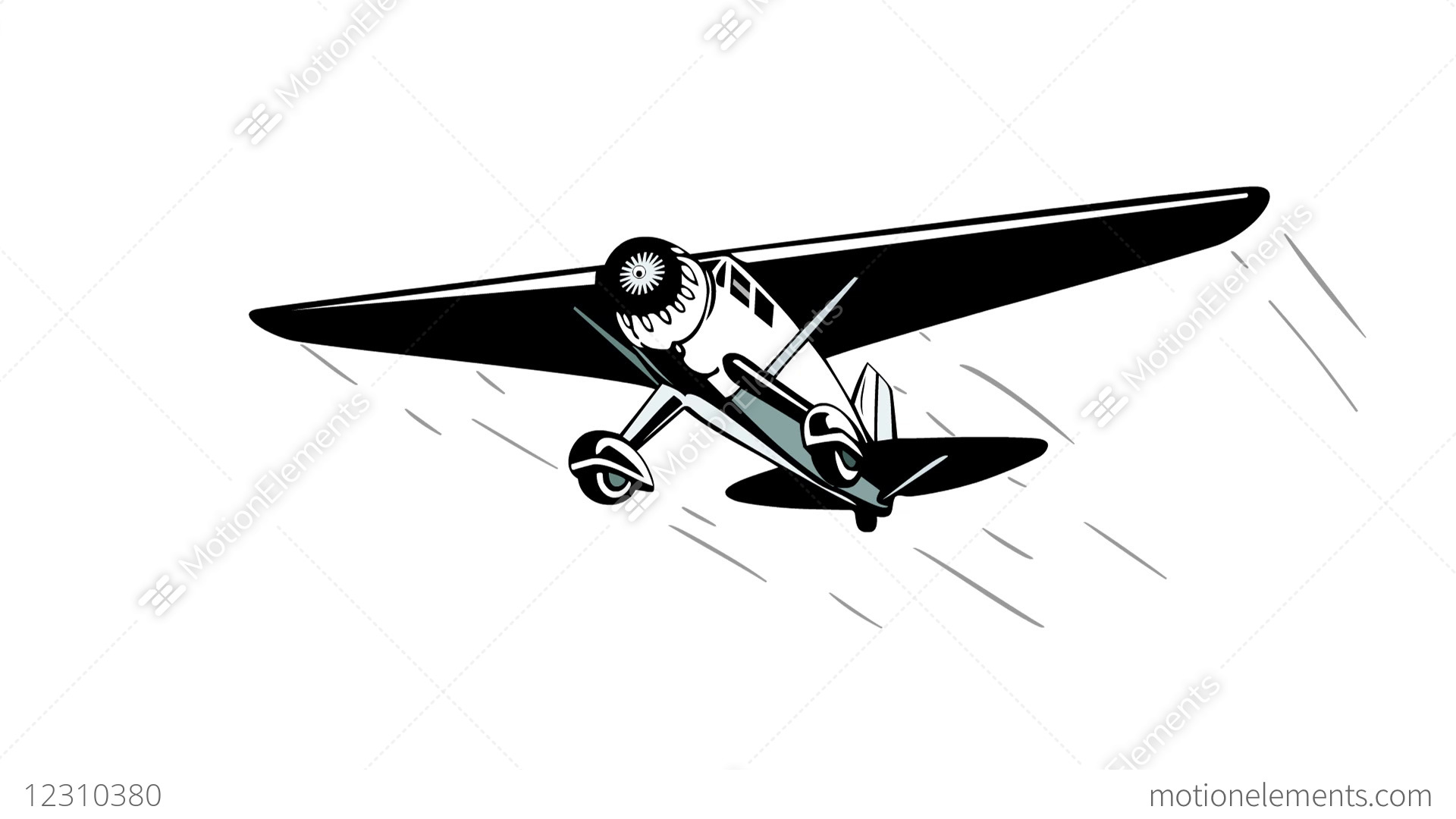 S Propeller Aircraft Flying 2d Animation Stock Animation