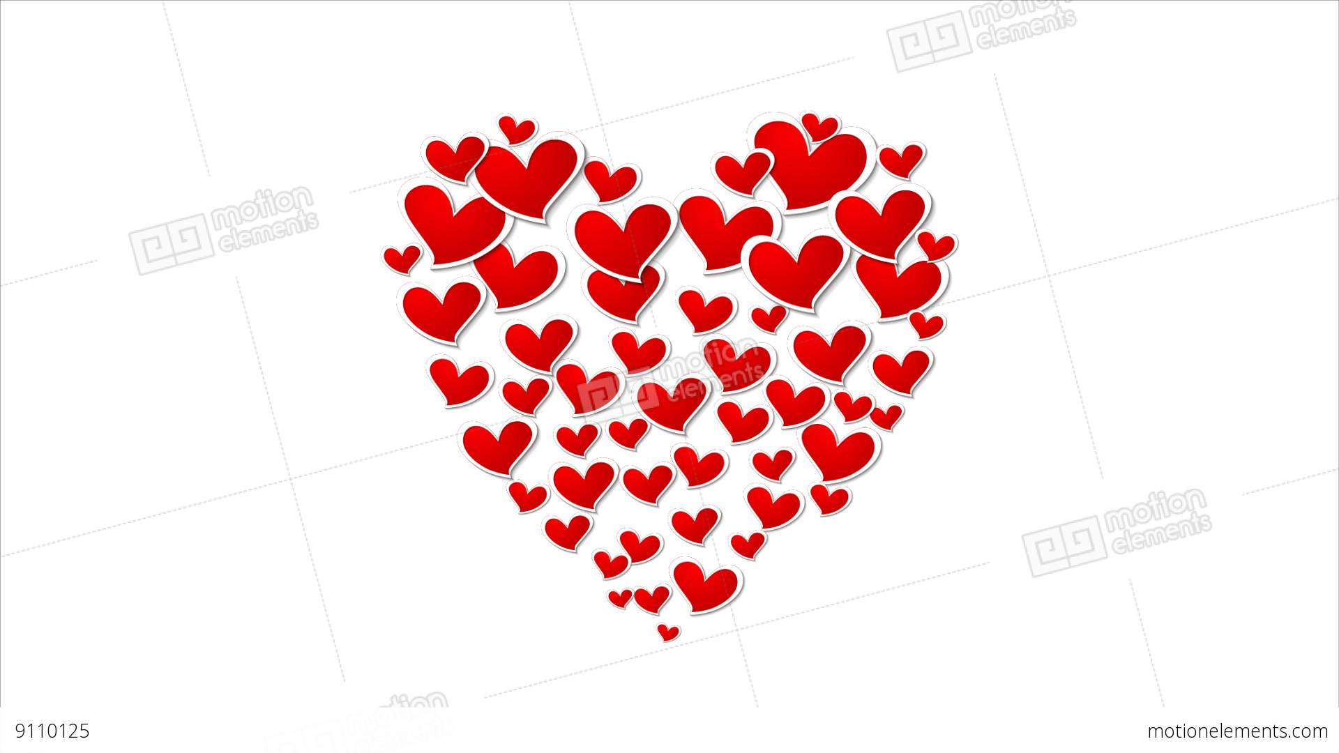 Abstract Big Heart From Small Hearts Video Animation Stock