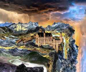 Castle Fantasy Landscape Stormy Magic Mysterious Mystical Fairytale Clouds Medieval Mountains Pikist