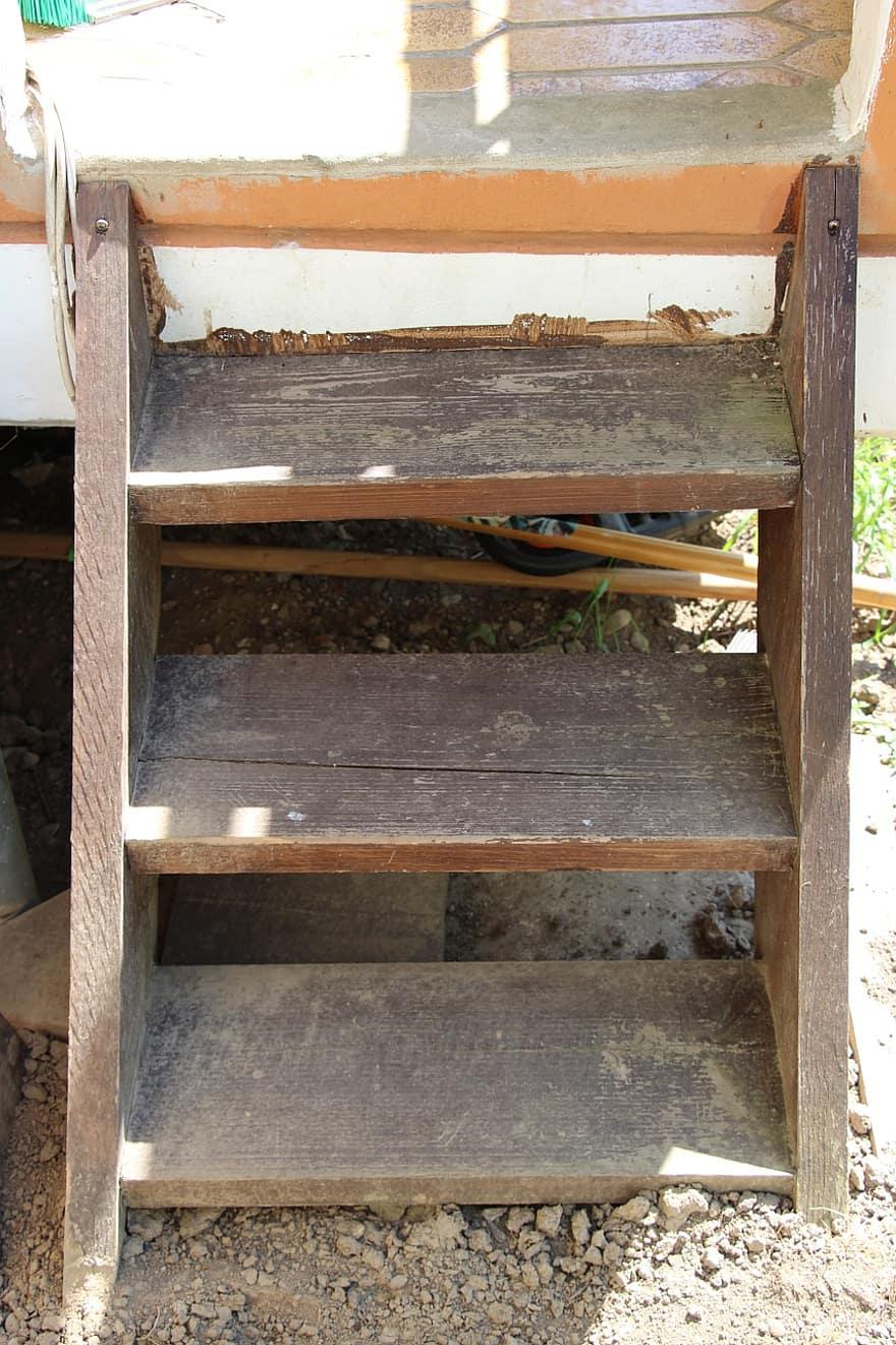Trappe Have Stige Gradvist Ud Terrasse Balkon Brun Slidt Gammel Trae Pikist