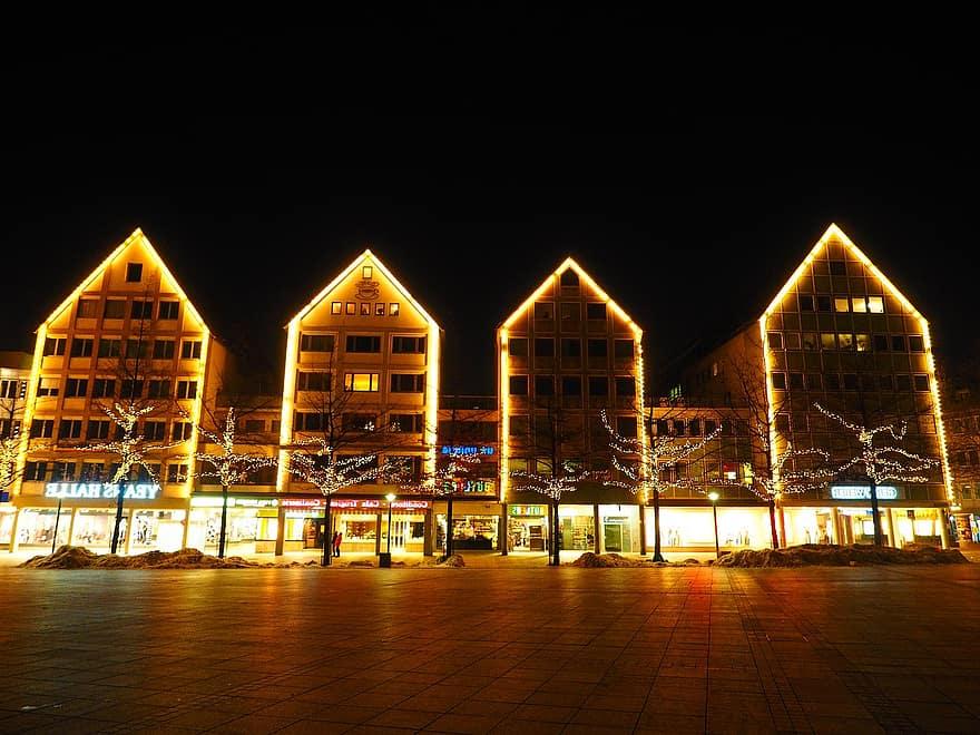 Christmas Christmas Lights Lighting Lamps Christmas Decoration Cathedral Square Ulm Christmas Decorations Night Dark Row Of Houses Pikist