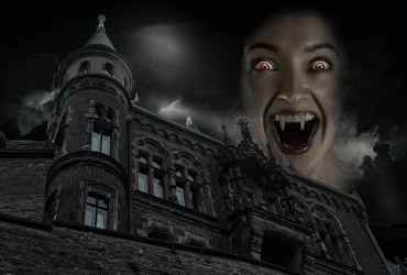 fantasy mysticism spooky vampire castle darkness composing mysterious dark thunderstorm late Pikist