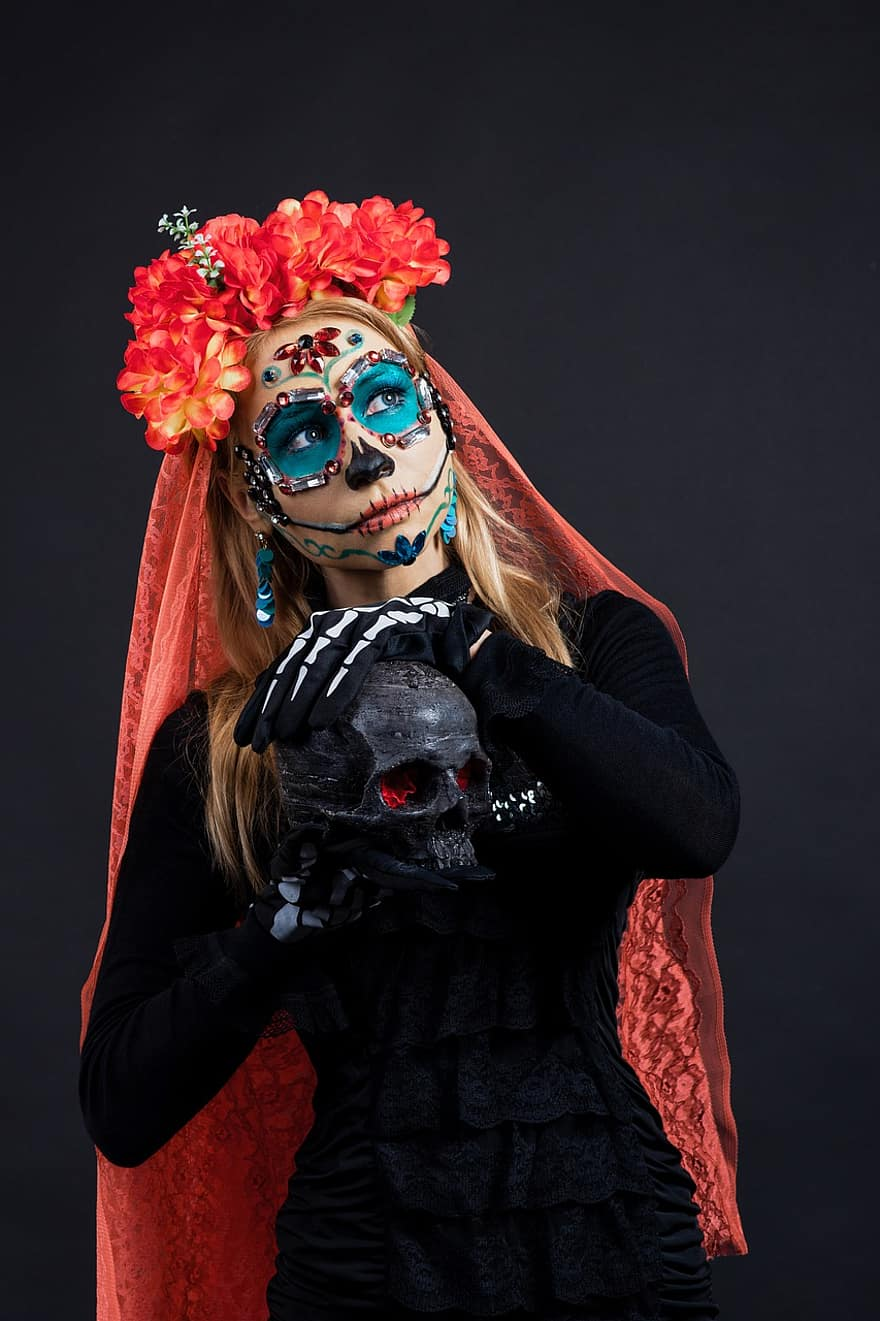 Jour Des Morts (mexique) : morts, (mexique), Halloween,, Morts,, Mexique,, Calavera, Catrina,, Crâne,, Crâne, Katrina,, Mexicain,, Maquillage,, Festival,, Muertos, Pikist