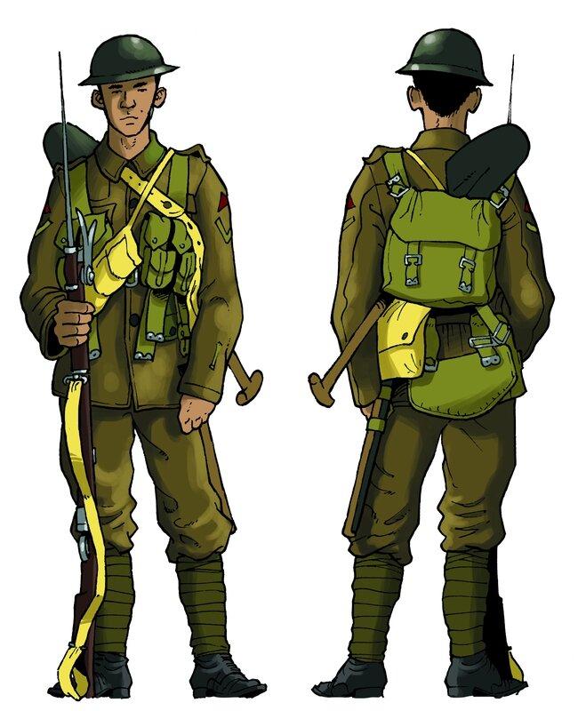 Soldat Britannique 14-18 : soldat, britannique, 14-18, L'uniforme, Britannique, 1914., Grande-Guerre