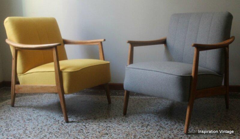 paire fauteuils 60 s scandinave