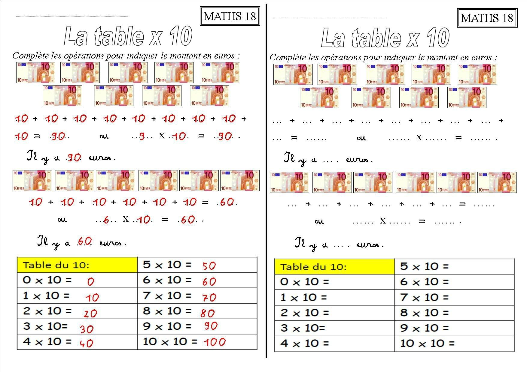 Les Tables De Multiplication Ce1 X 2 X 3 X 4 X 5 X