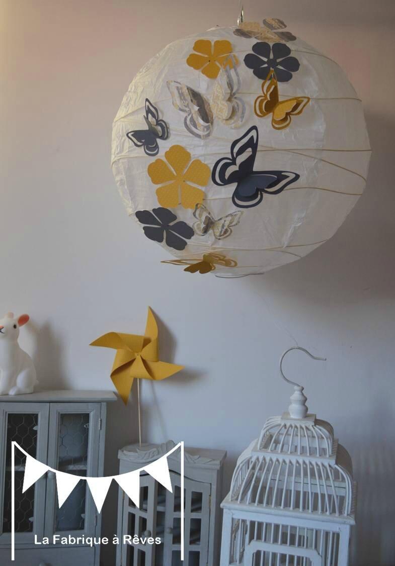 luminaire suspension abat jour papillons fleurs gris jaune dcoration chambre enfant fille