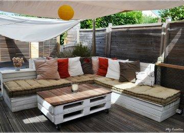 Salon De Jardin Fait Avec Des Palettes | Banquette De Jardin En Bois ...
