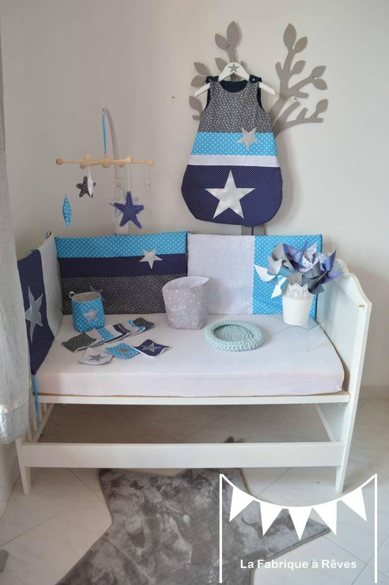 dcoration chambre bb garon argent marine bleu turquoise blanc toiles  Photo de