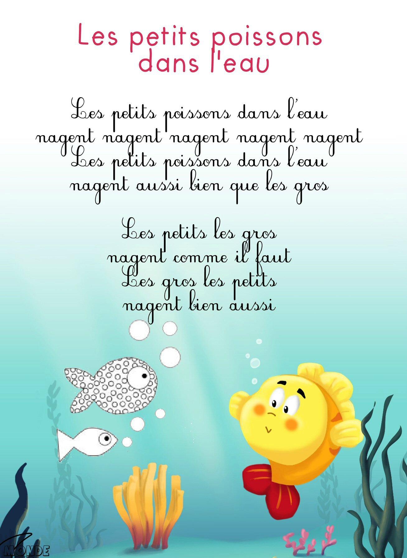 Petit Poisson Dans L'eau Comptine : petit, poisson, l'eau, comptine, Nounou-maman-celia