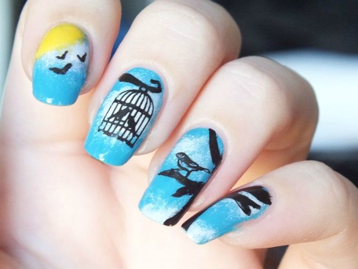 nail-art-birds-sky-clouds-kiko-elf-white-sunflower-cheeky-charming-princess-stamping-sun-soleil-oiseaux (1)