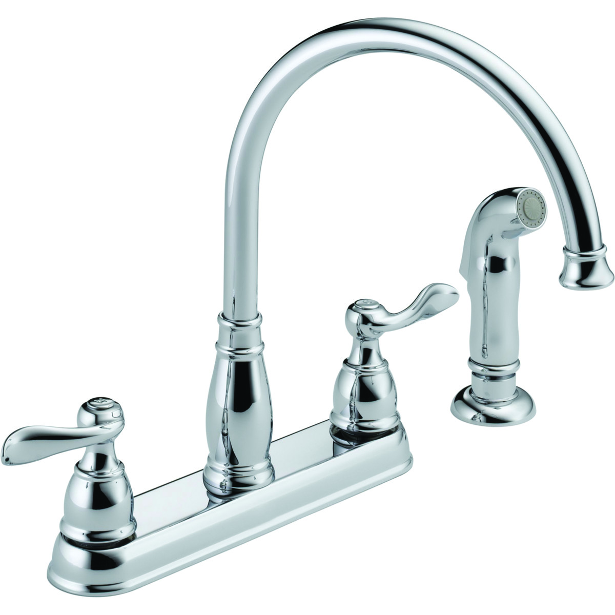delta faucet 21996lf kitchen faucet 2 handle spray chrome with side sprayer
