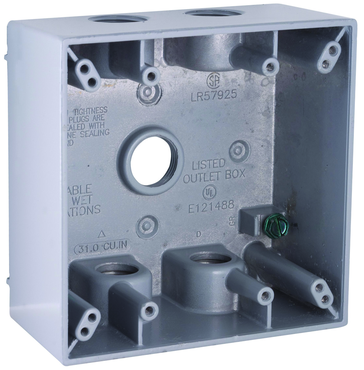 hight resolution of  2 gang aluminum 5 outlet box gray tap to expand