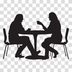 Interview Table Dining Room Chair Silhouette Furniture Conversation Sitting transparent background PNG clipart HiClipart