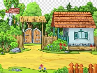 Natural landscape property house cartoon grass Watercolor Paint Wet Ink Yard Home Garden Adventure Game transparent background PNG clipart HiClipart