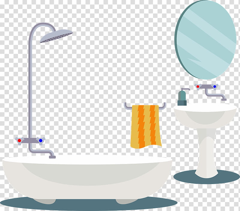 Toilet Bathroom Towel Baths Cartoon Mirror Bathing Shower Transparent Background Png Clipart Hiclipart