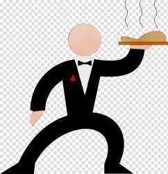 Watercolor Business Paint Wet Ink Waiter Silhouette Restaurant Web Design Cartoon transparent background PNG clipart HiClipart