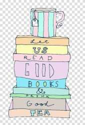 Pastel colored drawing of stack books and a mug transparent background PNG clipart HiClipart