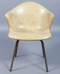 305: SET 8 DOUGLAS YELLOW FIBERGLASS CHAIRS C.1960 : Lot 305