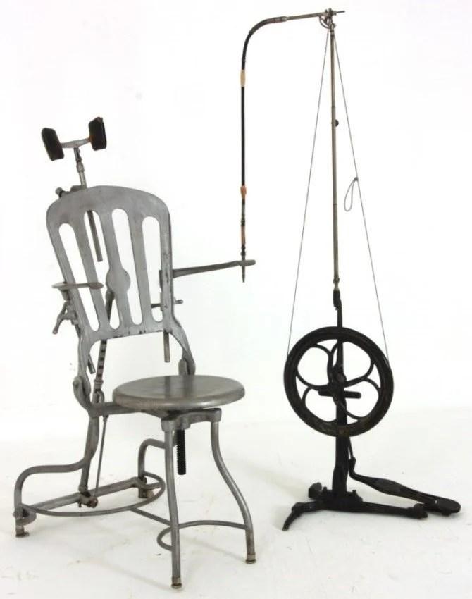vintage dentist chair folding garden covers cast iron w treadle drill