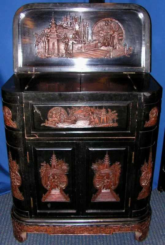 205 Hong Kong Bar Cabinet Hand Carved George Zee 1959
